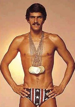 Mark Spitz with his 7 Olympic gold medals