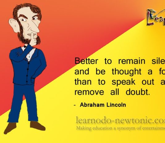 Abraham Lincoln on silence