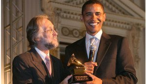 Barack Obama with Grammy award