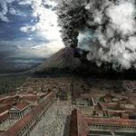 An artist's description of the Vesuvius eruption