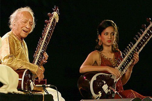 Ravi Shankar and Anoushka Shankar in 2009