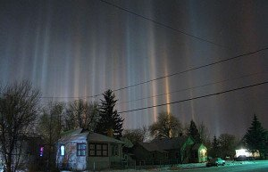 Light pillars in Laramie
