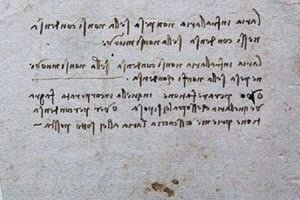 A sample of Leonardo's handwriting