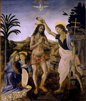 Baptism of Christ by Verrocchio