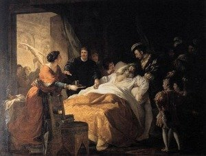 Death of Leonardo da Vinci by Francois-Guillaume Menageot