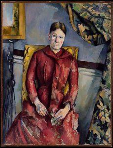 Marie-Hortense Cezanne in a red dress by Paul Cezanne
