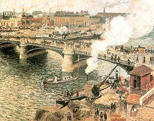 Pont Boieldieu in Rouen, Rainy Weather by Camille Pissarro