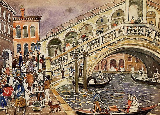 A 1912 painting of the Rialto and the bridge by Maurice Prendergast