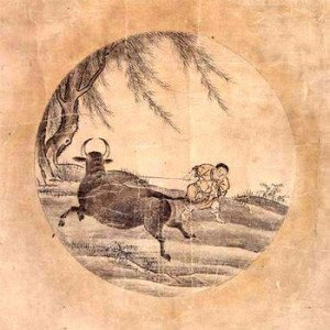 A painting from Oxherding Series by Tensho Shubun