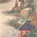 Abe-no-Nakamaro Writing Nostalgic Poem While Moon Viewing by Tomioka Tessai