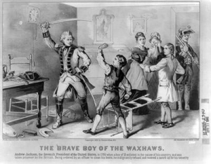 Andrew Jackson disobeys British officer (lithograph)