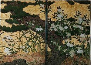 Pine Tree and Flowering Plants by Hasegawa Tohaku