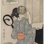 Takashima Ohisa Using Two Mirrors to Observe Her Coiffure Night of the Asakusa Marketing Festival by Kitagawa Utamaro
