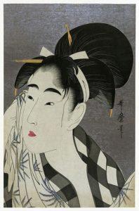 Woman Wiping Sweat by Kitagawa Utamaro