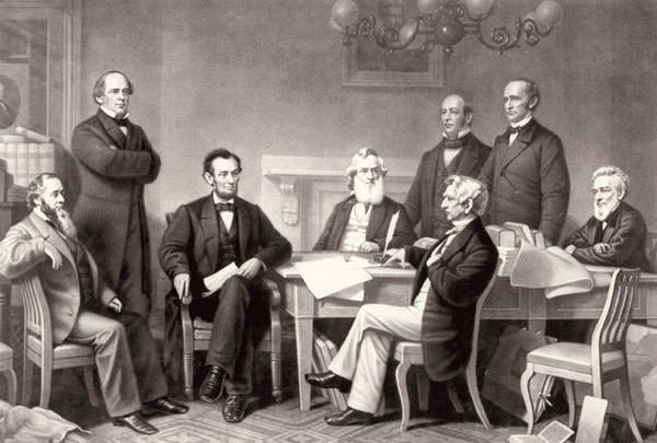 A depiction of the First Reading of the Emancipation Proclamation of President Lincoln by Francis Bicknell Carpenter