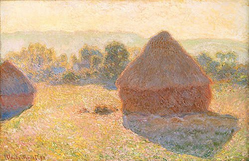 Haystacks on a Foggy Morning