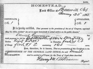 Homestead Certificate