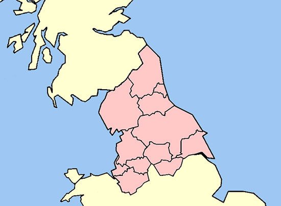 Map of Northern England