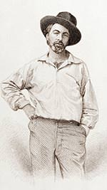 Steel engraving of Walt Whitman