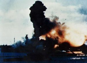 Battleship USS Arizona explodes