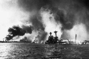 Battleship USS California sinking