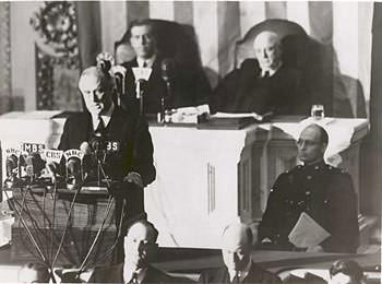 Roosevelt delivering the Infamy Speech