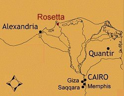 Rosetta on Map of Egypt