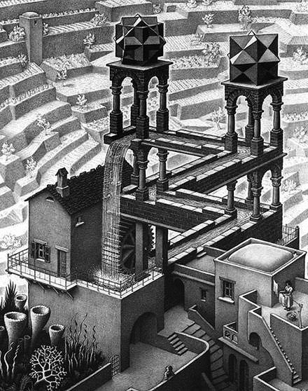 Waterfall (1961) - M.C. Escher