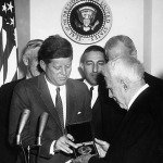 JFK awarding Frost the Congressional Gold Medal