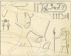 Drawing of a rock inscription of Khufu