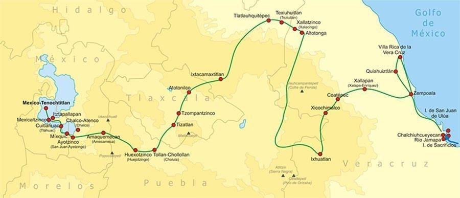Cortes's Invasion Route