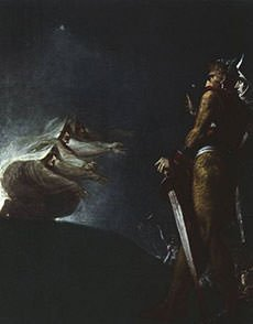 Painting of Macbeth and Banquo with the Witches