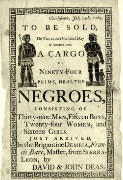 Handbill advertising a slave auction