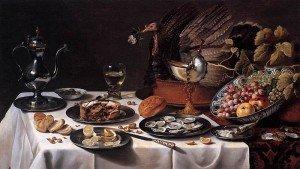 Still Life with Turkey Pie - Pieter Claesz
