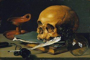 Still Life with a Skull and a Writing Quill - Pieter Claesz