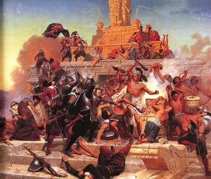 Cortes and his troops storming the Aztecs