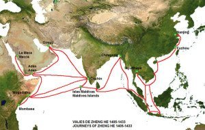 Map of Zheng He's Seven Voyages