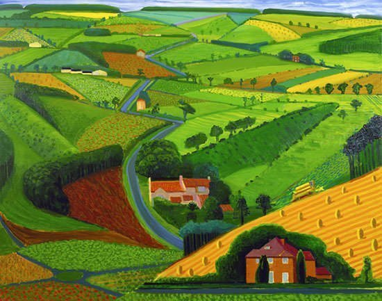 The Road Across the Wolds (1997) by Hockney