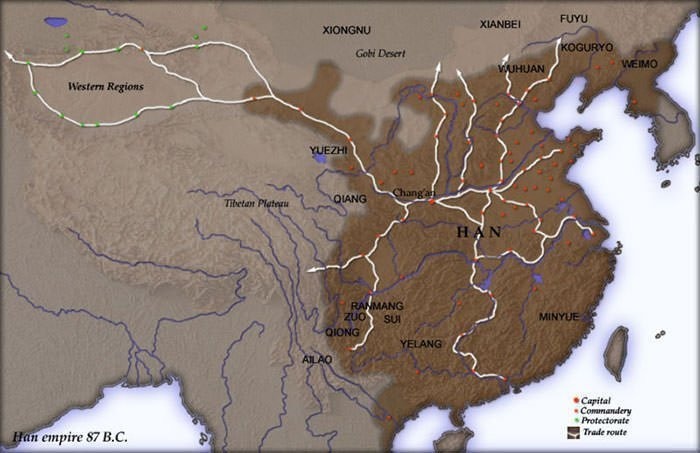 Han Dynasty empire in 87 BC