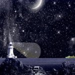 Night Sky with constellations, ships and a lighthouse