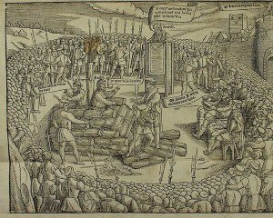 Hugh Latimer and Nicholas Ridley being burnt at the stake