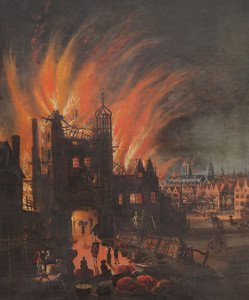 Painting depicting Ludgate in flames