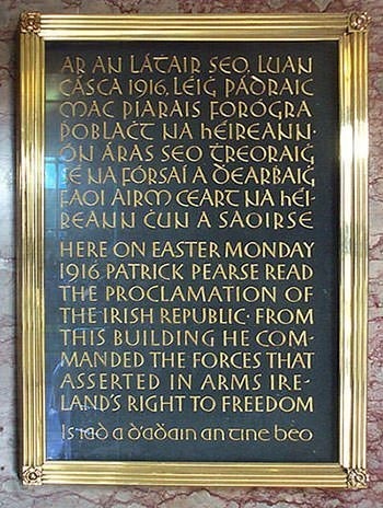 Easter Rising Plaque at GPO