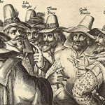 Engraving of eight of the thirteen conspirators of Gunpowder Plot