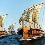 Fleet of Greek triremes