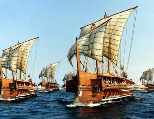 Fleet of Greek triremes
