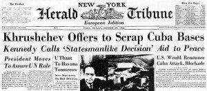 Newspaper headline Cuban Missile Crisis ends