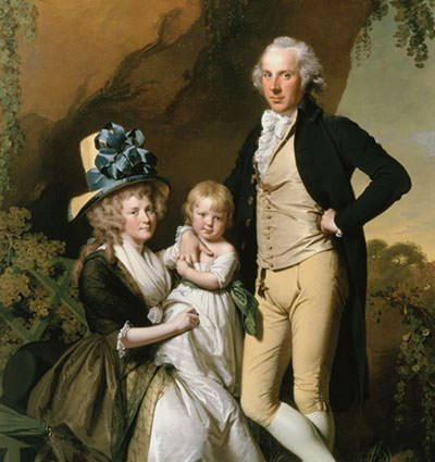 Richard Arkwright Junior with his wife and children