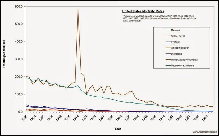 US Mortality Rates from various diseases 1900-1965