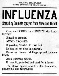 US Public health service flyer during the 1918 Influenza Pandemic